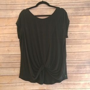 Zella front knot black knit work out top